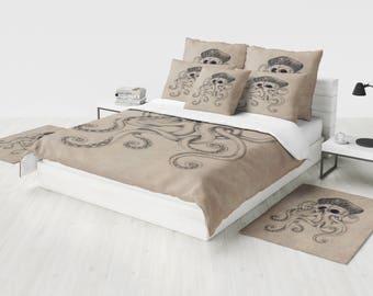 Octopus Bedding  Duvet  Cover , Comforter, Optional Pillow Shams Beige Grunge