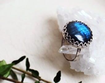 Labradorite Sterling Silver Ring - Handmade - Crystal