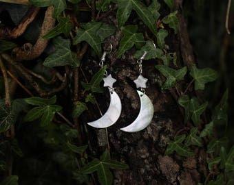 Moon & Star Earrings - handmade - shell - iridescent - celestial mermaid