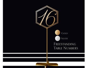 1-10 Freestanding table numbers. Wedding table numbers. Gold numbers.