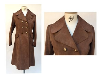 1960s suede fitted Classy long lengh COAT // size eu 38- uk 10 - us 6