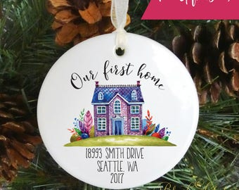 Our First Home Christmas Holiday Ornament Personalized Home Christmas Ornament Personalized Housewarming Gift New House Gift