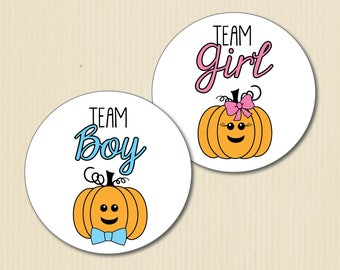 Cute Little Pumpkin Gender Reveal Party Stickers, Team Boy, Team Girl, Baby Shower Labels, Team Pink, Team Blue, Halloween, Jack o' Lanterns