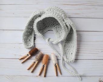Easter Bunny Bonnet, Bunny Hat, Bunny Bonnet, Newborn Gift, Newborn Bunny Hat, Baby Halloween Costume, Baby Girl Gift, Easter Bunny Hat