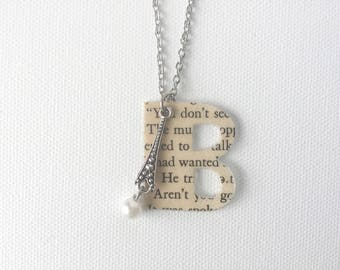 Paper Anniversary, Personalized Monogram Necklace, Upcycled Book Page Pendant, First Anniversary Gift, 1st Wedding Anniversary Gift