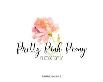 Flower Logo-Watercolor Logo-Watercolor Floral Logo-Nature Logo-Business Logo-Peony Logo-Etsy logo-Premade logo-Free Font Change