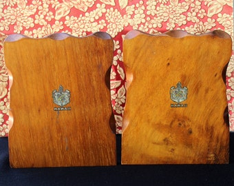 Vintage Carved HAWAIIAN KOA BOOKENDS with Hawaii Royal Crest
