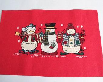 Effect velvet on red cotton fabric Christmas theme