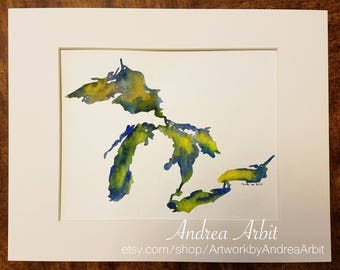 """8""""x10"""" Original Watercolor Painting - """"The Great Lakes in Yellow & Blue"""""""