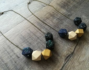 G A Z E- Spirit Series- Hand Painted Constellation Faceted Wood Bead Necklace