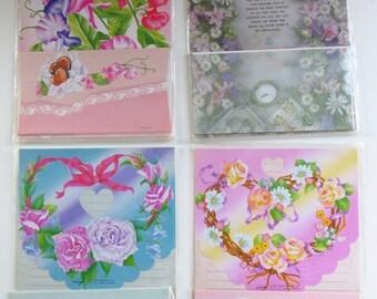 4x Vintage romance heart flowers letters,Correspondences,writting set,stationery set.