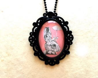 Vintage Bunny Portrait necklace, Antique Cameo Charm, With Old Art Print, 1920 Style, Gothic, Goth, Glass Statement long necklace