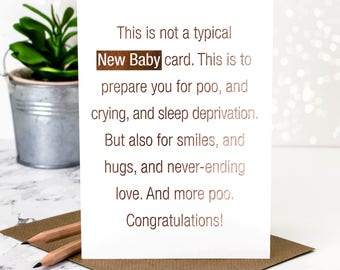 New Baby Card; This Is Not A Typical New Baby Card; Rose Gold Foil; Card For New Baby; Baby Card; Babies Card; GC381