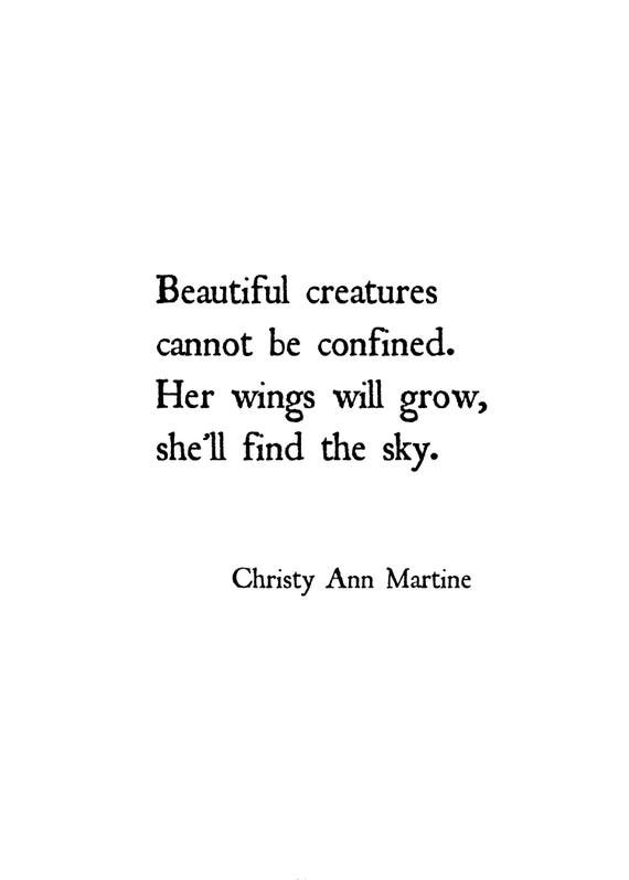 Wall Art Prints - Freedom Quote - Poem Print - Beautiful Creatures Cannot Be Confined Her Wings Will Grow She'll Find the Sky
