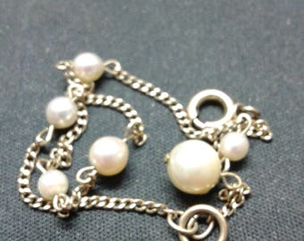 12k yellow gold filled bracelet with six real pearls from the 50's