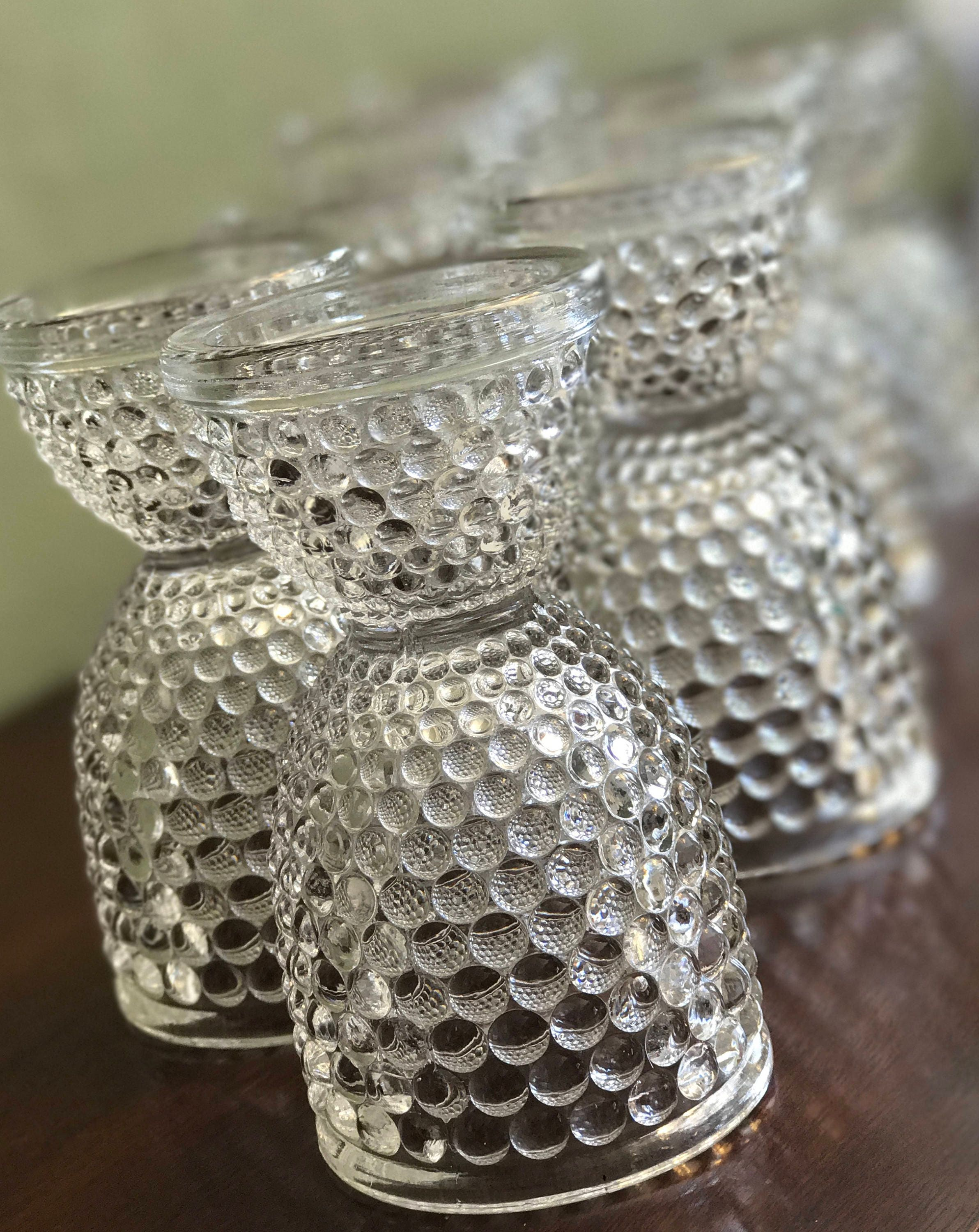 Vintage Egg Cups Thousand Eyes Glass Egg Cup Pressed