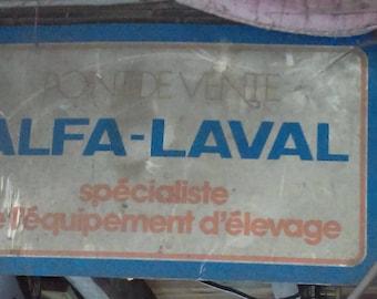 Vintage French Alfa metal enamel sign