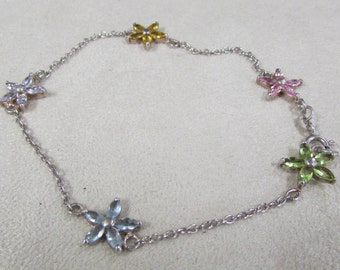 Sterling Silver Ankle Bracelet with 5 Crystal Flowers