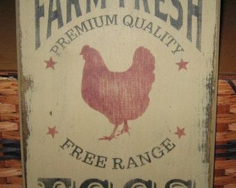 Primitive Farm Fresh Eggs  sign