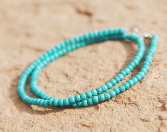 Turquoise Beaded Choker // Wrap Bracelet