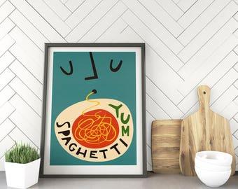 Spaghetti Kitchen Art, Foodie Gift, Illustration Prints, Kitchen Wall Art, Mid Century Decor, Gift for Housewarming, Food Lover, Retro Art