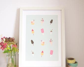 Ice Cream Print / Ice Cream Illustration / Cute Art Print / Dorm Decor / Wall Art