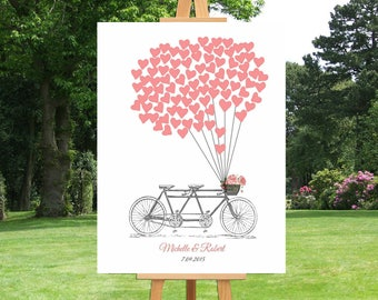 Tandem Bicycle Wedding Sign Guest Book | Thumbprint | Hearts | Vintage | Heart Balloons | Anniversary Gift For Couple | Custom Canvas -30477