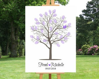 Alternative Wedding Fingerprint Tree Guest Book | Thumbprint | Vintage | Family Tree | Anniversary Gift For Couple | Custom Canvas - 41677B
