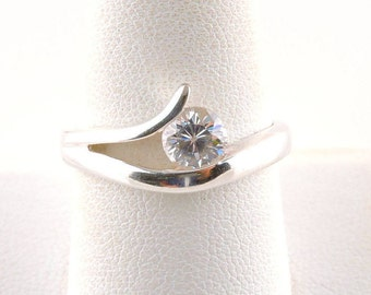 Size 9 Sterling Silver And 1ct Round Cubic Zirconia Ring