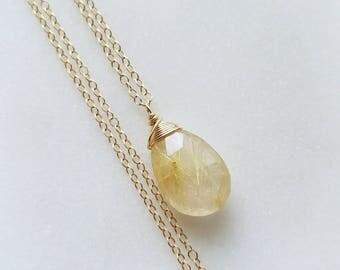 Rutilated Quartz Necklace, 14k Gold Filled Necklace, Yellow Gold Rutilated Quartz Pendant, Unique Gemstone, Rutilated Quartz, Large Gemstone
