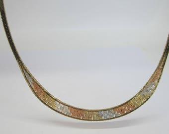 14K Tricolour Chain, Tricolour Choker, Flatlink Chain, Vintage Jewellery, Vintage Tricolour Necklace
