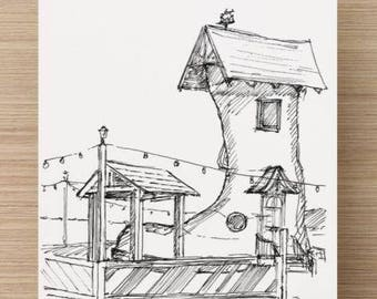 Ink sketch of Fairy Tale Shoe Art Installation - Drawing, Art, Pen and Ink, Architecture, 5x7, 8x10, Print