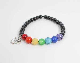 Chakra Bracelet, Chakra Jewelry, Om Bracelet, Crystal Healing Jewelry, Gemstone Bracelet, Yoga Jewelry, Meditation Jewelry, Energy Bracelet