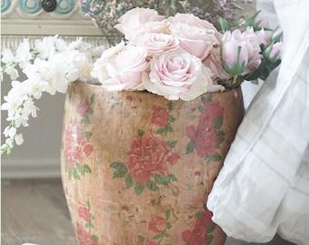 Pink Vintage Rose Paper Mache Bucket