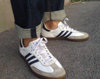 ADIDAS Samba | Vintage | 1990s | Sneakers | Adidas | White leather blue strips | EU 44 | Uk 9 1/2 | Us 10 | Original