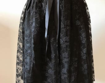 80's Black Satin and Lace Skirt