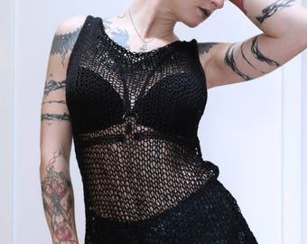 "Black Hand-knitted Top ""Delilah"""