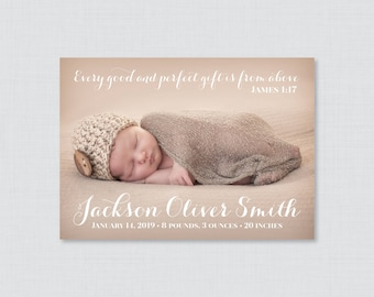 Printable or Printed Picture Birth Announcement Cards - Birth Announcements,  Simple Birth Announcement, Horizontal/Landscape Photo BA05