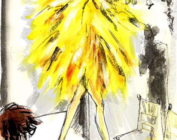 Yellow Pop Up- Fashion Illustration, Fashion Illustration Print, Watercolor Fashion Print, Fashion Sketch, Fashion Poster, Runway Sketch