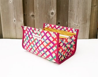 Knitting Notions Pouch, Ultimate Notions Pouch, Knitting Bag, Divided Notions Pouch, Notions Bag, colourful latice print