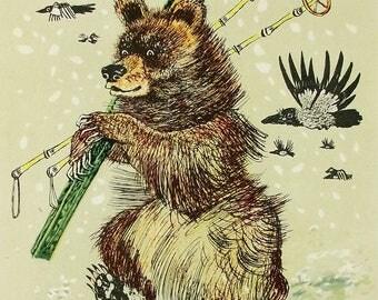 Bear Skier - Illustrator A. Golubev - Vintage Soviet Postcard, 1966. Crows Ravens Magpies Skiing Winter Olympics Animals Art Print
