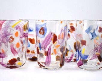 Passionate Party Glasses- hand blown glass cups, cane, murini, colorful, pink, love, wine glass, great gift idea, unique, price per glass