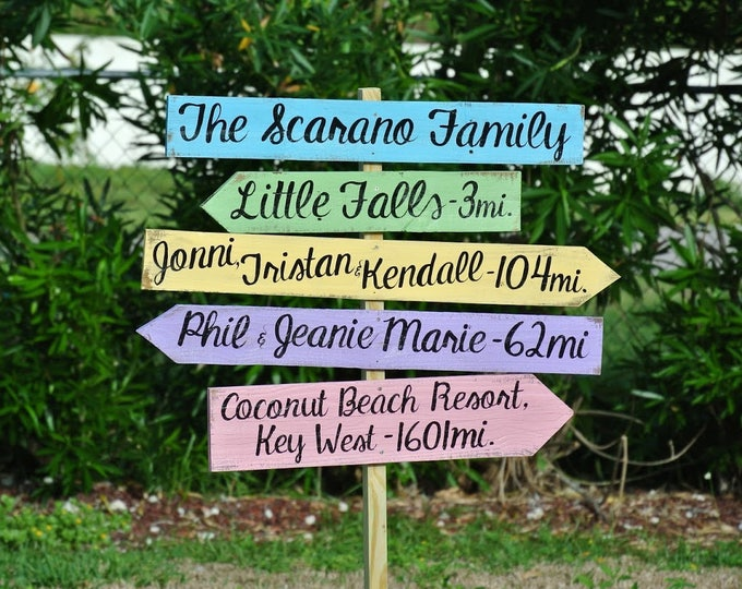 Rustic Family Name Directional Destination Wood Sign, Wooden Arrow Signage, Garden Yard Decor, Family Gift Idea for New Home