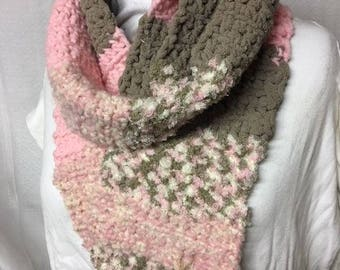 chunky scarf with different style yarns