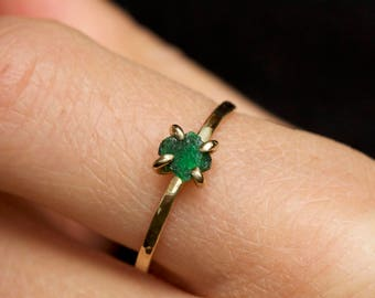 Raw Emerald Ring. Raw Emerald Engagement Ring. Natural Emerald Ring. May Birthstone. Gold Emerald Ring.