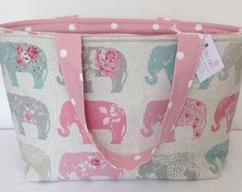 Tote Bag, Elephant Zippered Bag, Medium Tote Bag, Knitting Bag, Knitting Project, Craft Bag, Crochet Bag, Baby Bag, Overnight Bag, Zip Bag