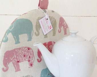 Tea Cosy, Elephants Tea Cosy, Fabric Tea Cosy, Elephants, Time for Tea! Kitchen Accessory, Gift, Kitchen, Pink Elephants,