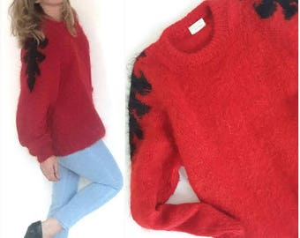 Vintage Red Mohair Sweater, Mohair oversized Sweater, Mohair chunky sweater
