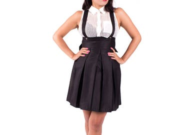 Black Pleated Skirt with Adjustable Straps. Women's Pinafore Mini Dress. Rockabilly, Pastel Goth, Gothic, High Waisted Suspender Skirt