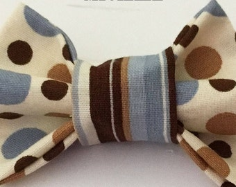Blue, Brown & Beige Bow Tie for Male Dogs and Cats